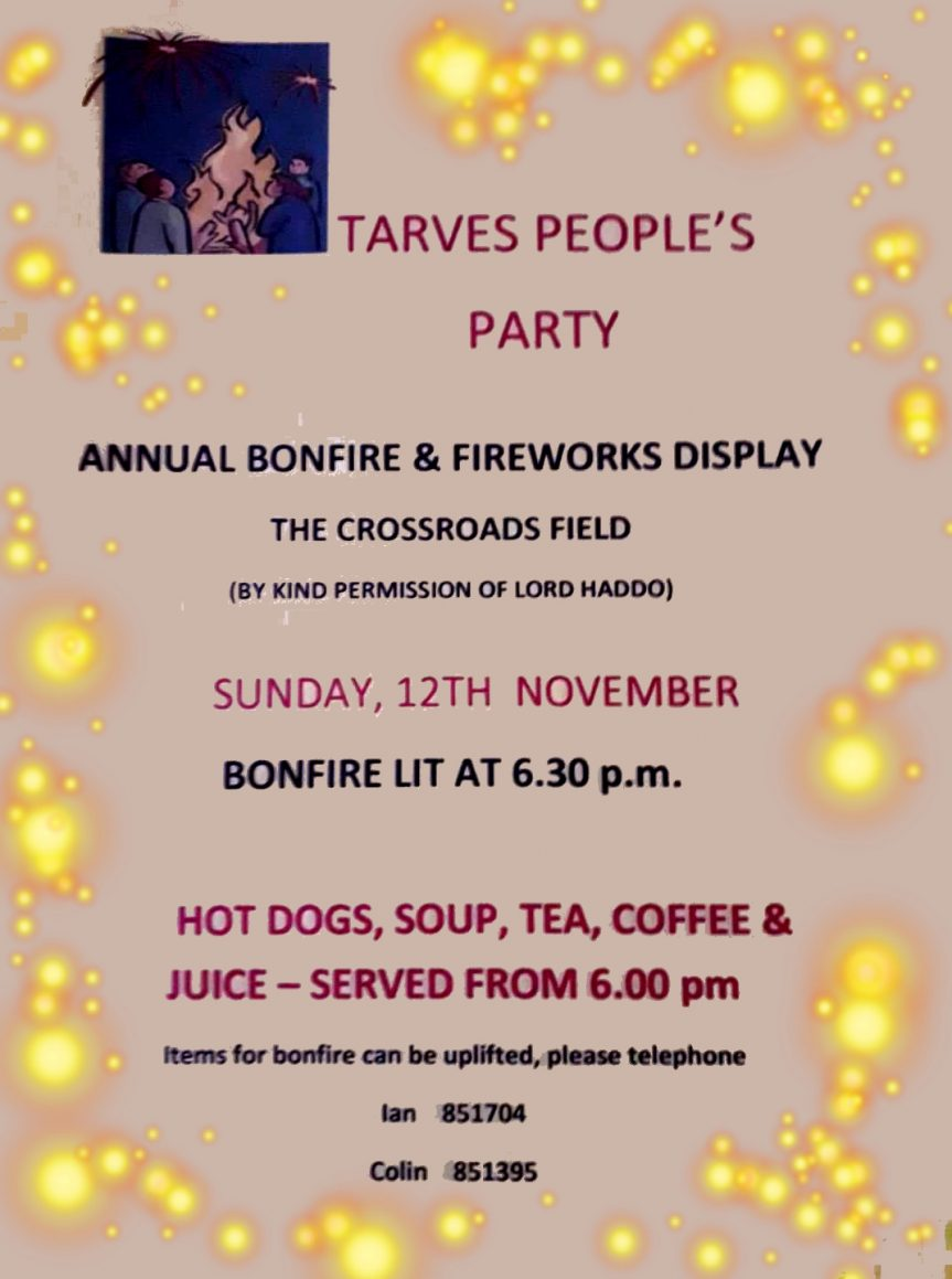 TARVES BONFIRE AND FIREWORKS 2017 – SUNDAY 12 NOV