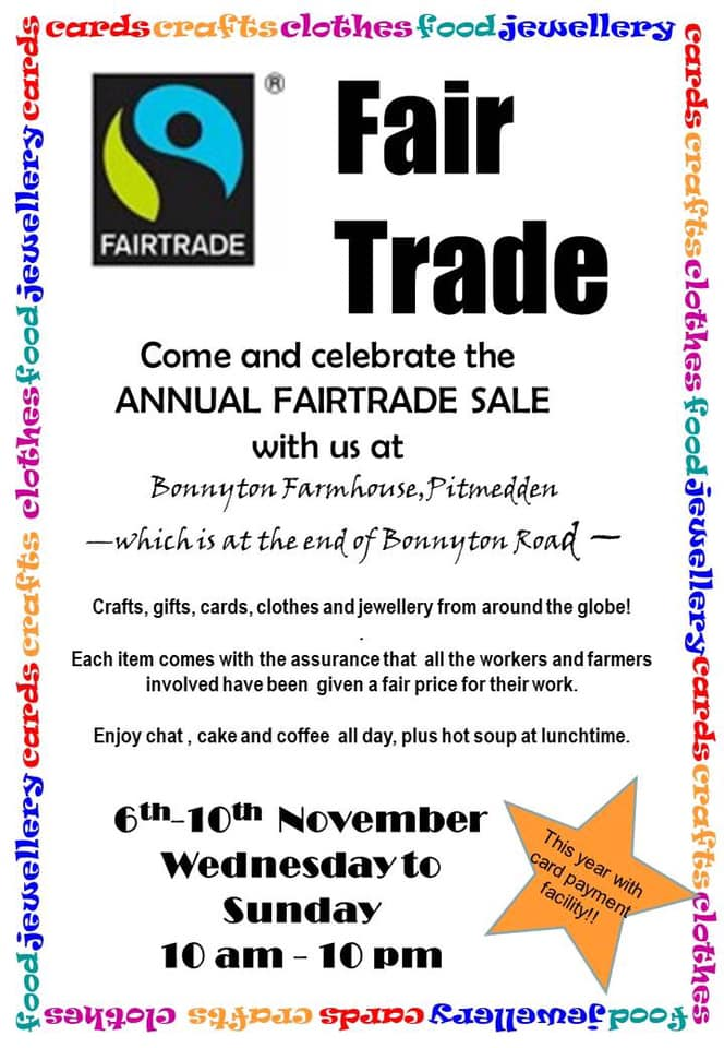 THE GREAT ANNUAL FAIR TRADE SALE – ETHICAL SHOPPING 6 – 10 NOV 2019 AT PITMEDDEN